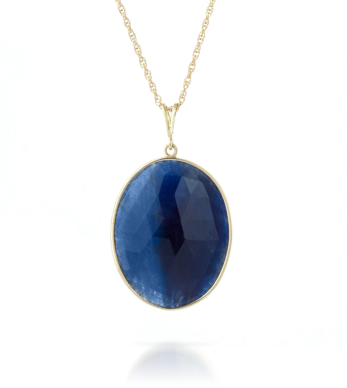 Oval Cut Sapphire Pendant Necklace 20 ct in 9ct Gold ...