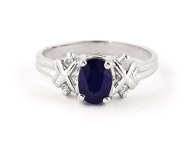 Oval Cut Sapphire Ring 1.47 ctw in 9ct White Gold
