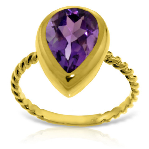 Pear Cut Amethyst Ring 2.5 ct in 9ct Gold