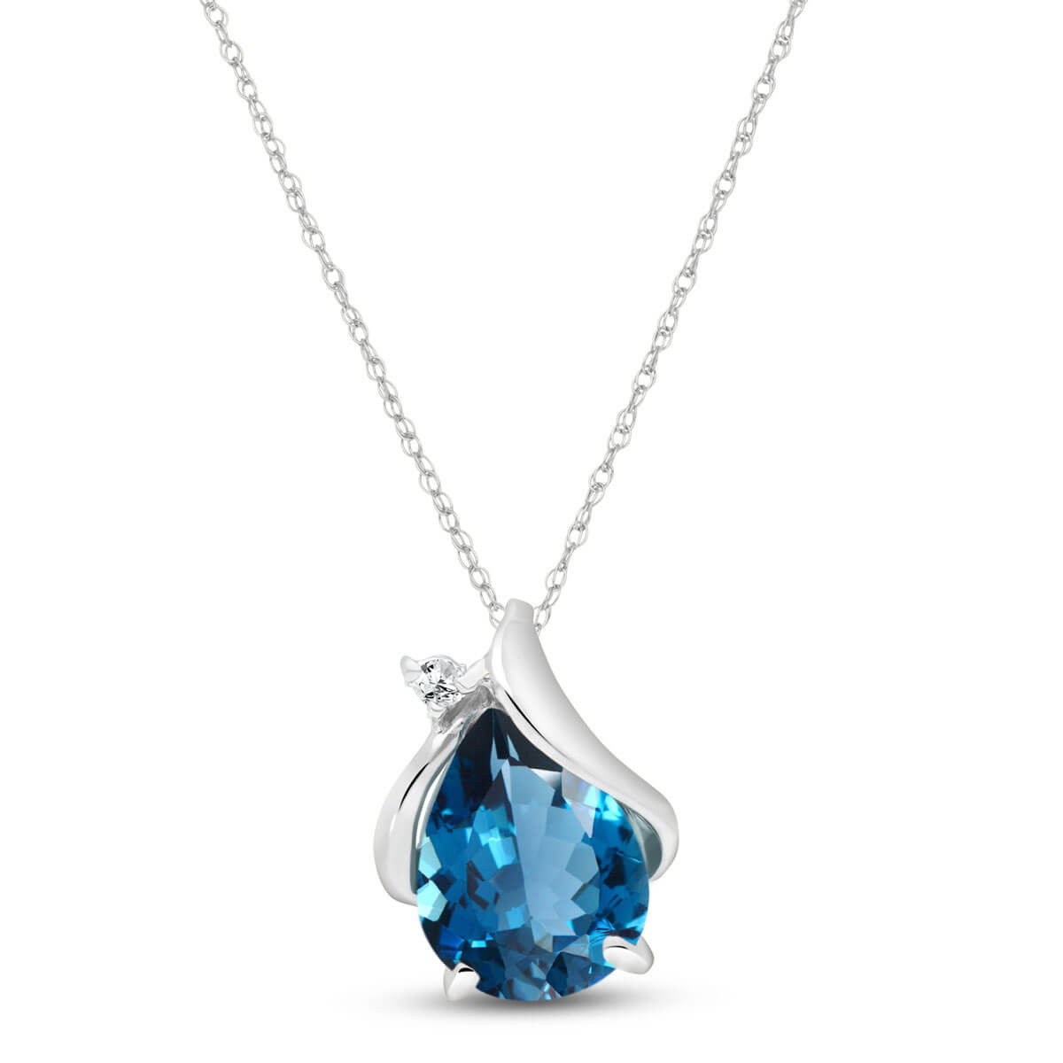 Pear Cut Blue Topaz Pendant Necklace 2.53 ctw in 9ct White Gold