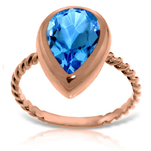 Pear Cut Blue Topaz Ring 4 ct in 9ct Rose Gold