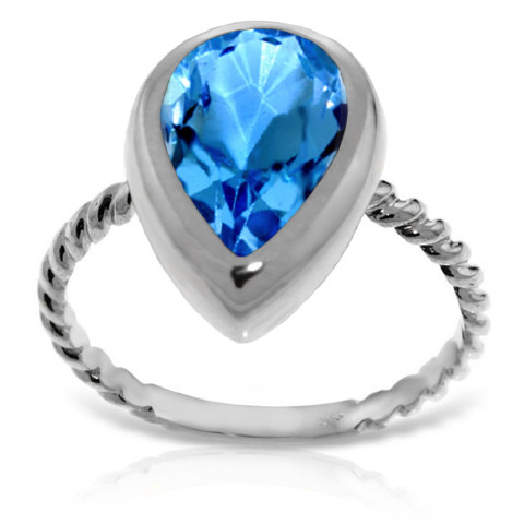 Pear Cut Blue Topaz Ring 4 ct in 9ct White Gold