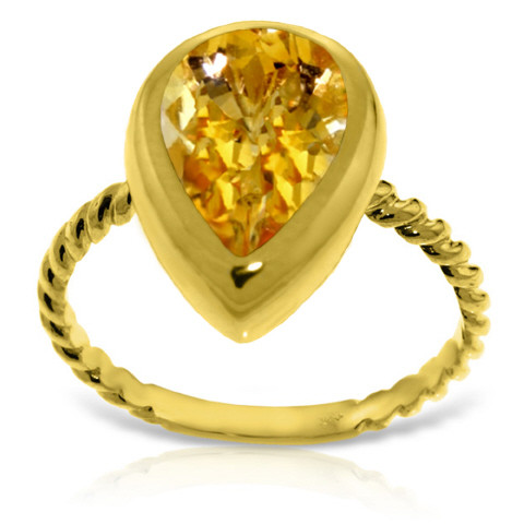 Pear Cut Citrine Ring 2.5 ct in 9ct Gold
