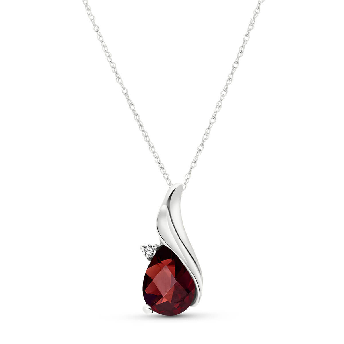 Pear Cut Garnet Pendant Necklace 2.03 ctw in 9ct White Gold