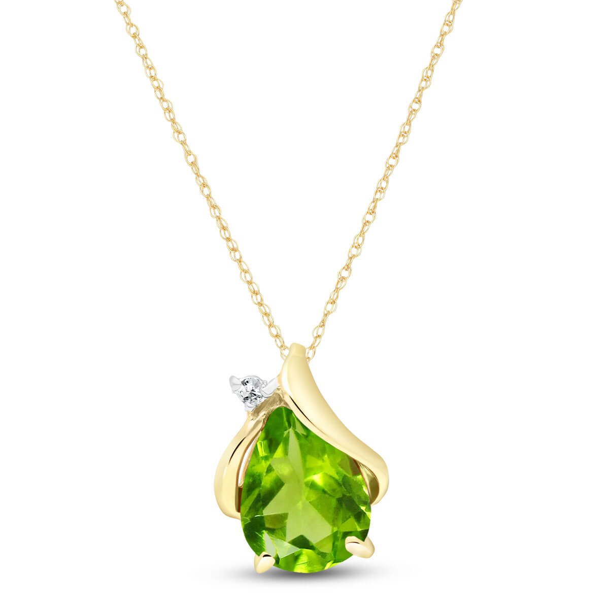 Pear Cut Peridot Pendant Necklace 2.13 ctw in 9ct Gold