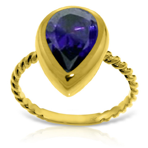Pear Cut Sapphire Ring 3.5 ct in 9ct Gold