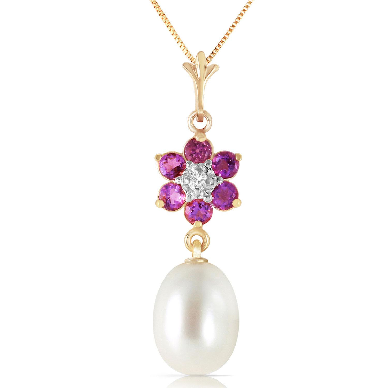 Pearl, Amethyst & Diamond Daisy Pendant Necklace in 9ct Gold