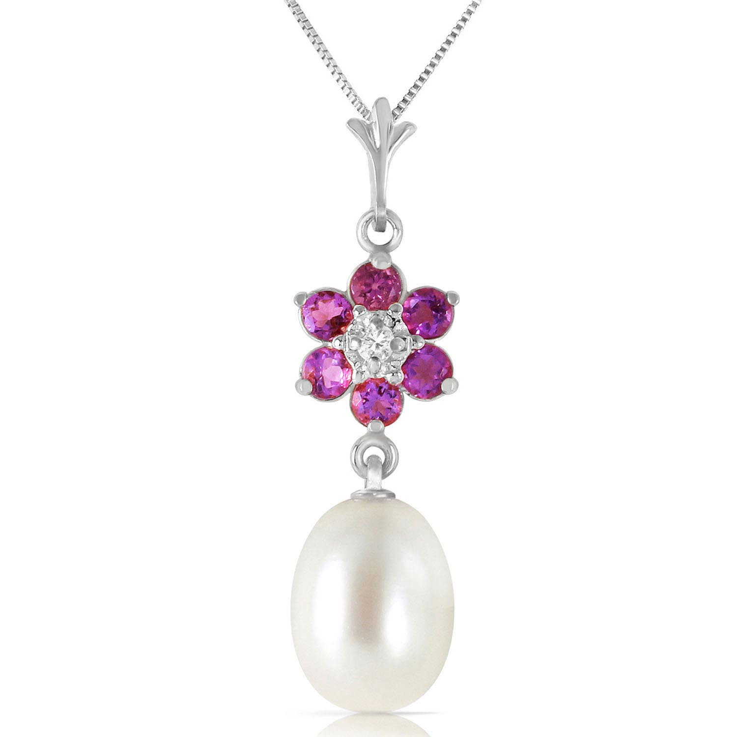 Pearl, Amethyst & Diamond Daisy Pendant Necklace in 9ct White Gold