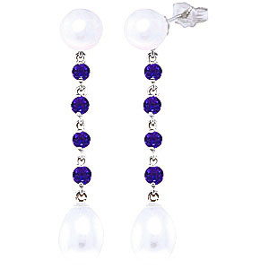 Pearl & Amethyst by the Yard Drop Earrings in 9ct White Gold