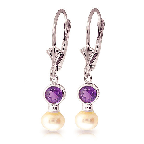 Pearl & Amethyst Drop Earrings in 9ct White Gold