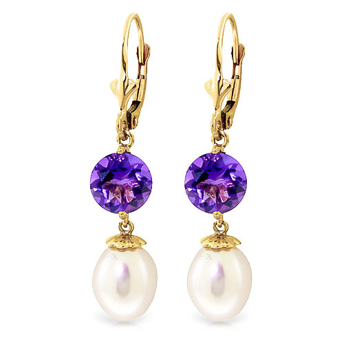Pearl & Amethyst Droplet Earrings in 9ct Gold