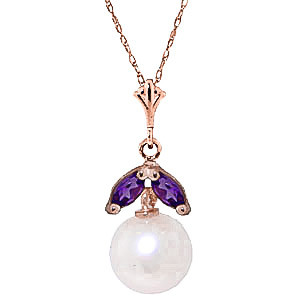 Pearl & Amethyst Snowdrop Pendant Necklace in 9ct Rose Gold