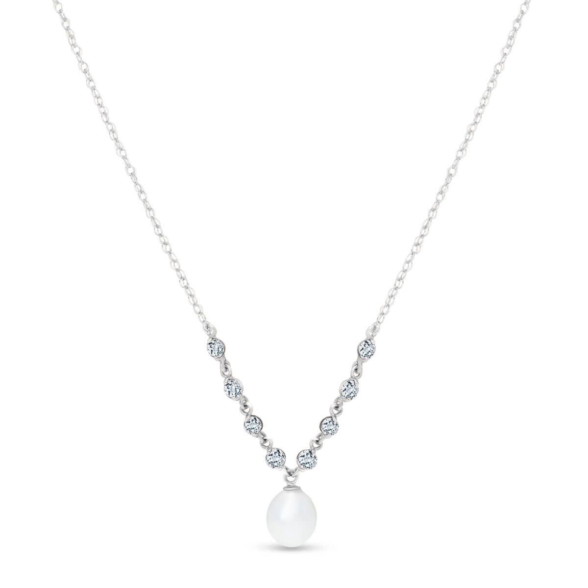 Pearl & Aquamarine by the Yard Pendant Necklace in 9ct White Gold