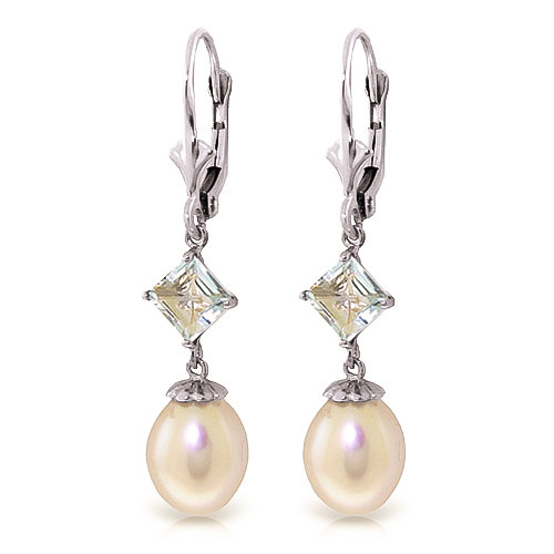 Pearl & Aquamarine Droplet Earrings in 9ct White Gold