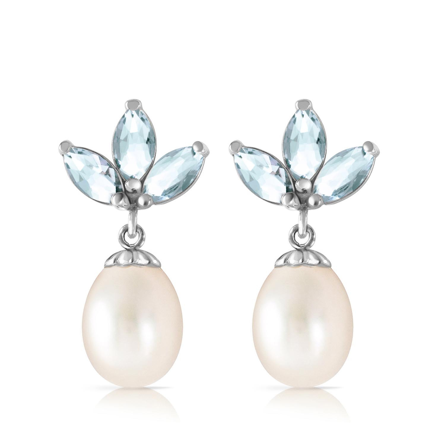 Pearl & Aquamarine Petal Drop Earrings in 9ct White Gold