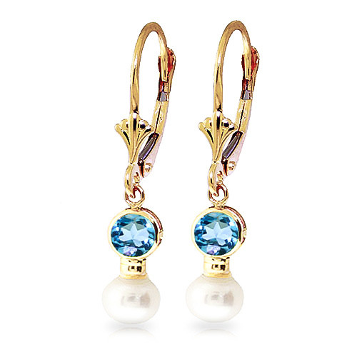 Pearl & Blue Topaz Drop Earrings in 9ct Gold