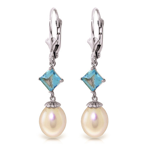 Pearl & Blue Topaz Droplet Earrings in 9ct White Gold