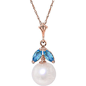 Pearl & Blue Topaz Snowdrop Pendant Necklace in 9ct Rose Gold