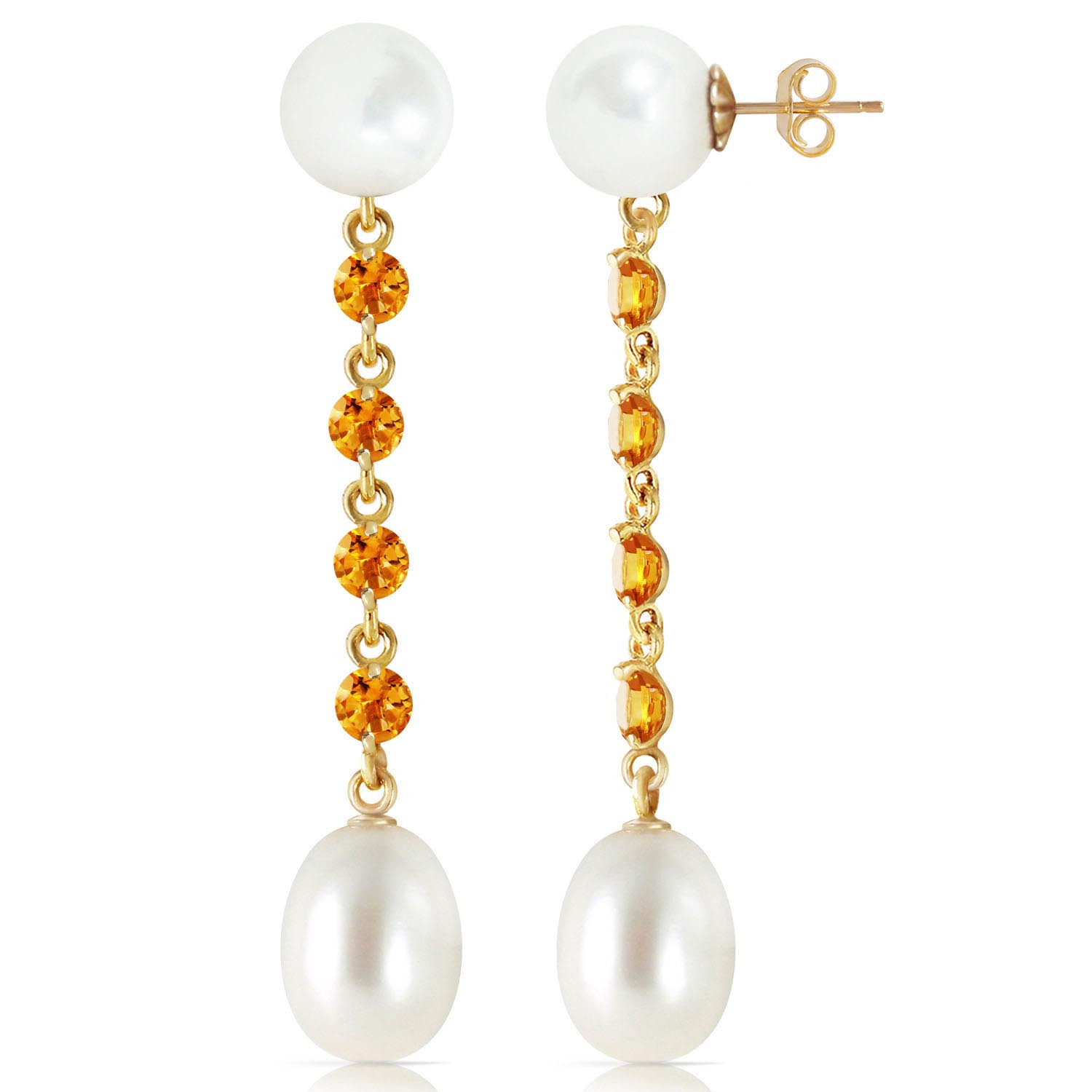 Pearl & Citrine by the Yard Drop Earrings in 9ct Gold