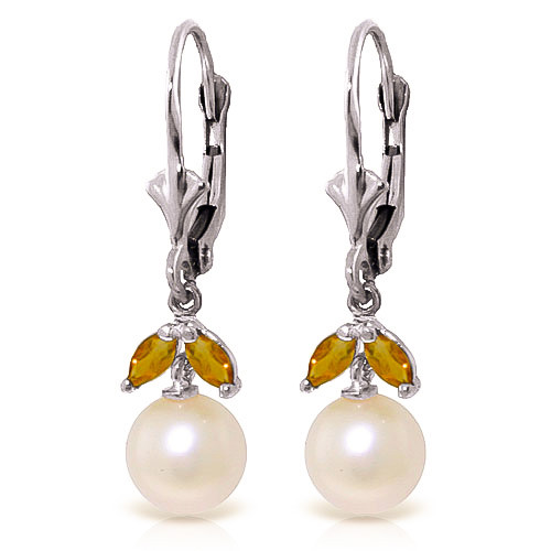 Pearl & Citrine Dewdrop Earrings in 9ct White Gold