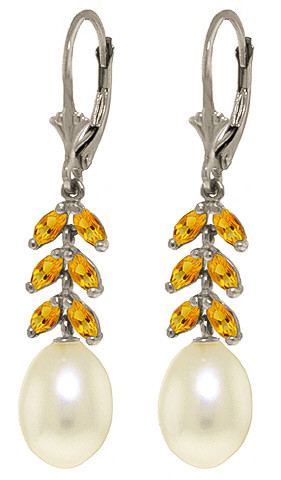 Pearl & Citrine Drop Earrings in 9ct White Gold