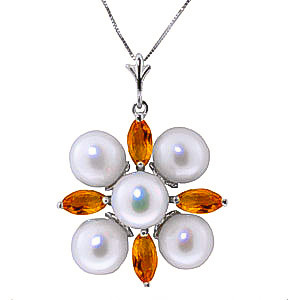 Pearl & Citrine Pentagonal Pendant Necklace in 9ct White Gold