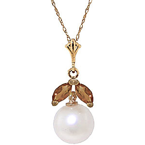 Pearl & Citrine Snowdrop Pendant Necklace in 9ct Gold