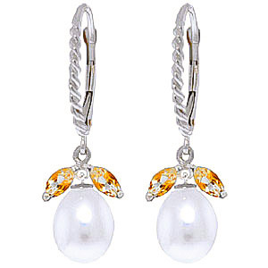 Pearl & Citrine Snowdrop Twist Earrings in 9ct White Gold