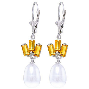 Pearl & Citrine Ternary Drop Earrings in 9ct White Gold