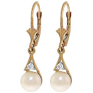 Pearl & Diamond Drop Earrings in 9ct Gold