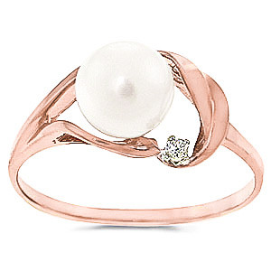 Pearl & Diamond Ring in 9ct Rose Gold