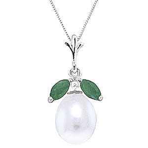 Pearl & Emerald Pear Drop Pendant Necklace in 9ct White Gold