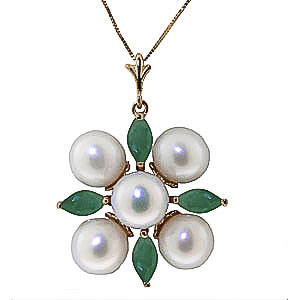 Pearl & Emerald Pentagonal Pendant Necklace in 9ct Gold