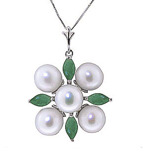 Pearl & Emerald Pentagonal Pendant Necklace in 9ct White Gold