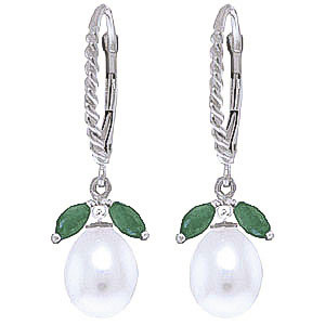 Pearl & Emerald Snowdrop Twist Earrings in 9ct White Gold