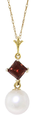 Pearl & Garnet Pendant Necklace in 9ct Gold