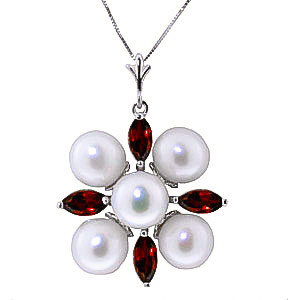 Pearl & Garnet Pentagonal Pendant Necklace in 9ct White Gold
