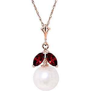 Pearl & Garnet Snowdrop Pendant Necklace in 9ct Rose Gold