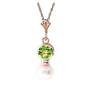 Pearl & Peridot Dazzle Pendant Necklace in 9ct Rose Gold