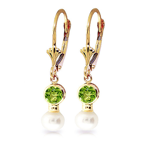 Pearl & Peridot Drop Earrings in 9ct Gold