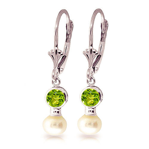Pearl & Peridot Drop Earrings in 9ct White Gold