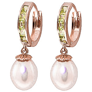 Pearl & Peridot Huggie Earrings in 9ct Rose Gold
