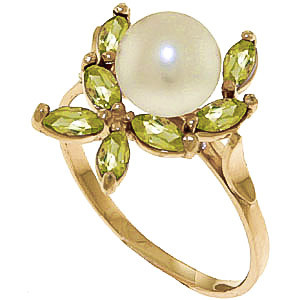 Pearl & Peridot Ivy Ring in 9ct Gold