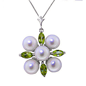Pearl & Peridot Pentagonal Pendant Necklace in 9ct White Gold