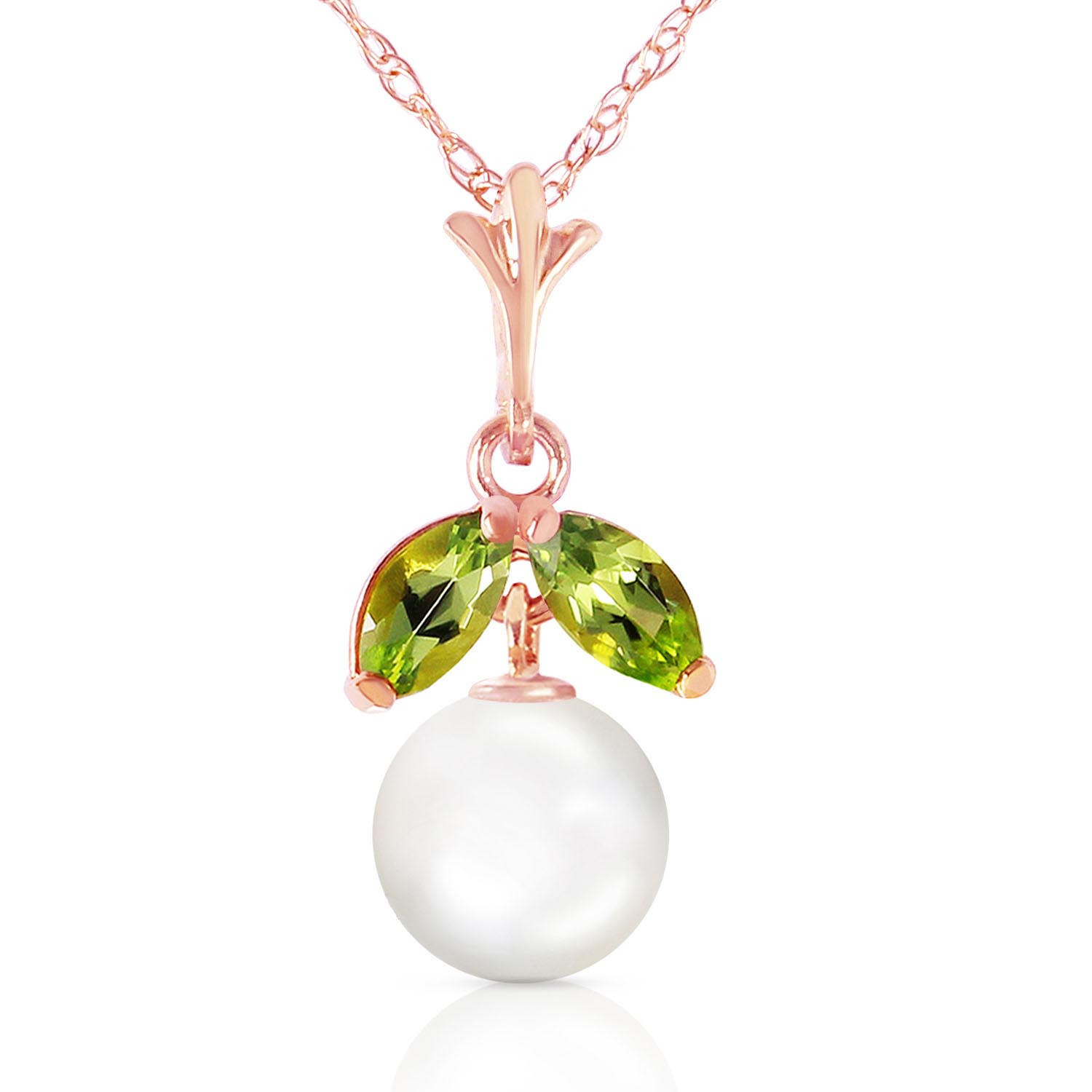 Pearl & Peridot Snowdrop Pendant Necklace in 9ct Rose Gold