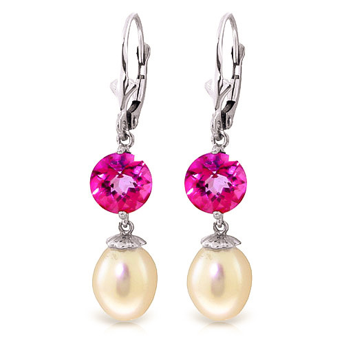 Pearl & Pink Topaz Droplet Earrings in 9ct White Gold