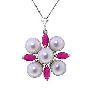 Pearl & Ruby Pentagonal Pendant Necklace in 9ct White Gold
