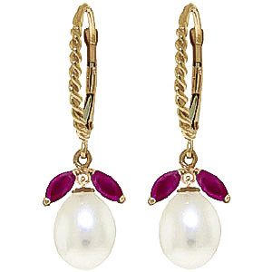 Pearl & Ruby Snowdrop Twist Earrings in 9ct Gold