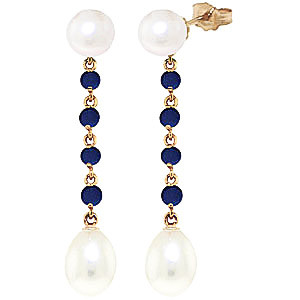 Pearl & Sapphire by the Yard Drop Earrings in 9ct Gold