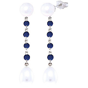 Pearl & Sapphire by the Yard Drop Earrings in 9ct White Gold